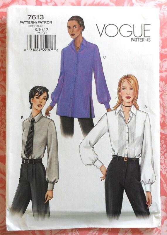 6adff8864bdd4 Blouse Sewing Pattern UNCUT Vogue 7613 Sizes 8-12