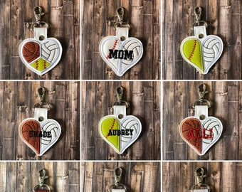 Double Sport   Triple Sport   Split Sports   Basketball+Volleyball Heart   Other Sports Available - KeyChain -  KeyFob - BagTag
