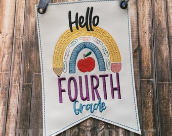 Hello + Grade - Great First Day of School - Back to School - Sketch Rainbow Pencil Banner