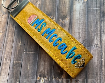 Pencil - Crayon Personalized Teacher Keyfob Keychain Wristlet   Teacher Gift
