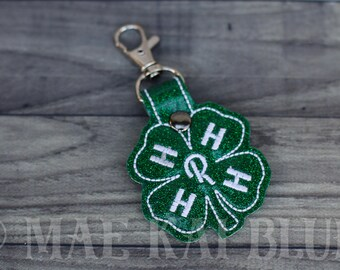 4-H Clover - Head, Heart, Hands, Health - KeyChain -  KeyFob - BagTag