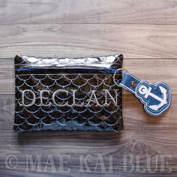 Mermaid Dark Scale clutch - makeup - pencil - notions - zipper bag -  monogrammed