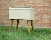 Vintage Ottoman with Storage, Mid-Century, Sewing Box, Foot Stool