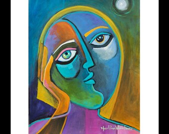 Expressionism Original Painting Marlina Vera Fine Art Artwork Cubist Acrylic on paper 12x9 Portrait Woman Cubism Thinking of You