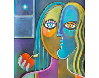 Expressionism Original Painting Marlina Vera Fine Art Artwork Cubist Acrylic on paper 12x9 Eve and apple Portrait Woman Cubism