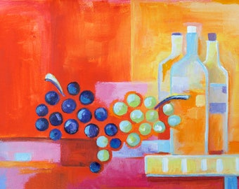 Modern Abstract Cubism Original Painting Canson paper Marlina Vera Fine Art Gallery  Expressionism Artwork wine bottles daily paintings 12x9