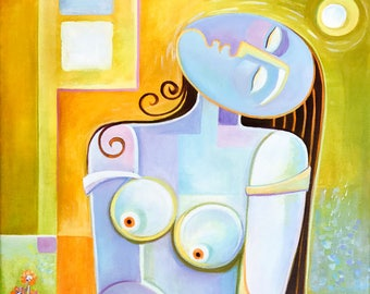 Cubism Abstract Modern Fine Art Original Acrylic Painting Woman at Peace by Marlina Vera Contemporary artwork Picasso style modernism Nude