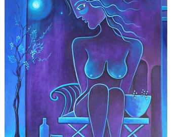 Cubism painting Abstract artwork Original Acrylic canvas The Wine Maker Collection Marlina Vera Modern Fine Art Gallery wall blue vino nude