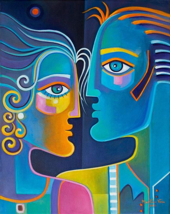 Peinture à lhuile toile Galerie dArt cubisme abstrait   Etsy