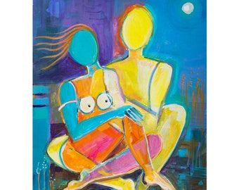 Expressionism Original Painting Marlina Vera Fine Artwork Cubist Art Acrylic on paper Abstract Love Expressionist Figurative Couple Lovers