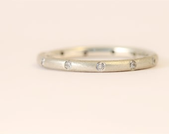 Recycled sterling silver, round, eternity ring with 10 diamonds, randomly set. Ethical jewellery  2 mm wide Unisex