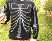 Men 39 s black skeleton long sleeve skeleton t-shirt hand painted, bones, halloween, jack skellington, day of the dead, sugar skull, zombie