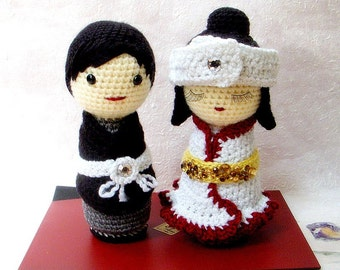 Amigurumi patterns - Japanese Wedding - 2 Crochet Amigurumi Kokeshi tutorial PDF
