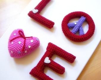 Amigurumi - LOVE - Crocheted Amigurumi 4 letters patterns / PDF