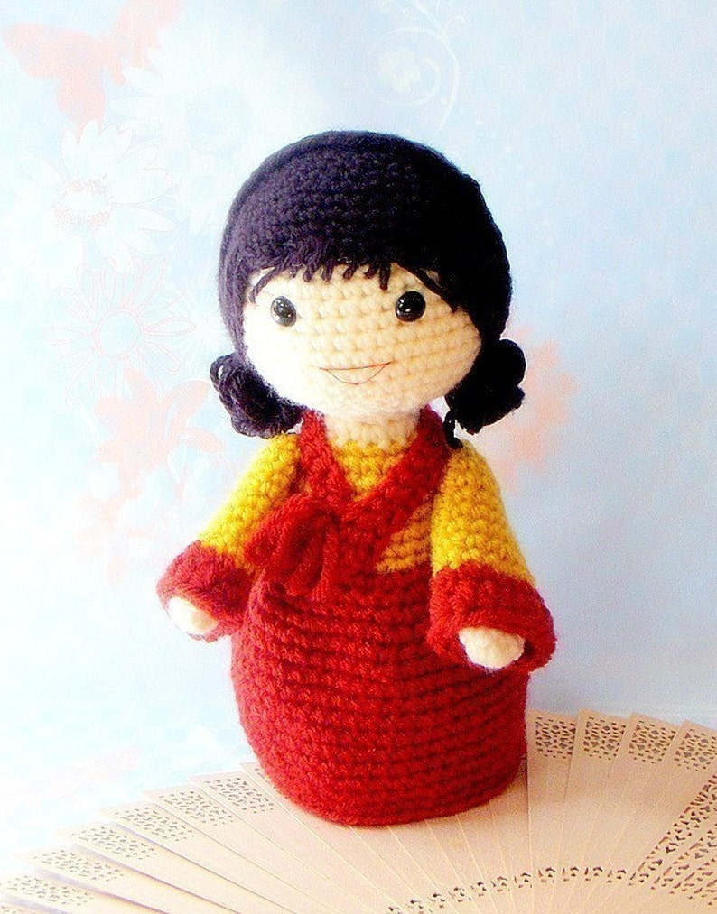 Crochet Amigurumi girl doll pattern  PDF Mina