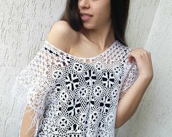 Summer white crochet top