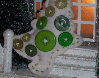 Crooked Christmas trees, button decorations, white, purple, pink, green, red