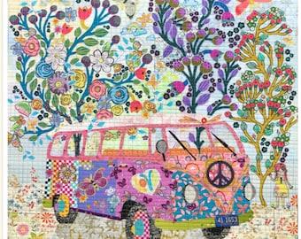 The Love Bus collage pattern by Laura Heine of Fiberworks