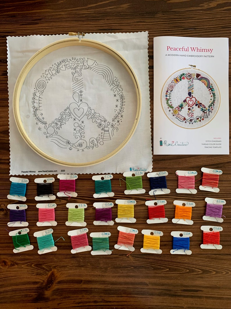 Preprinted Fabric thread hoop needle Peaceful Whimsy Modern Hand Embroidery Kit peace sign Embroidery Kit Complete kit includes Pattern