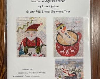 Teeny Tiny Collage Pattern #10 Santa, Deer, Snowman by Laura Heine of Fiberworks