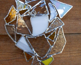 Stained Glass Abstract Suncatcher - Clear - White - Yellow