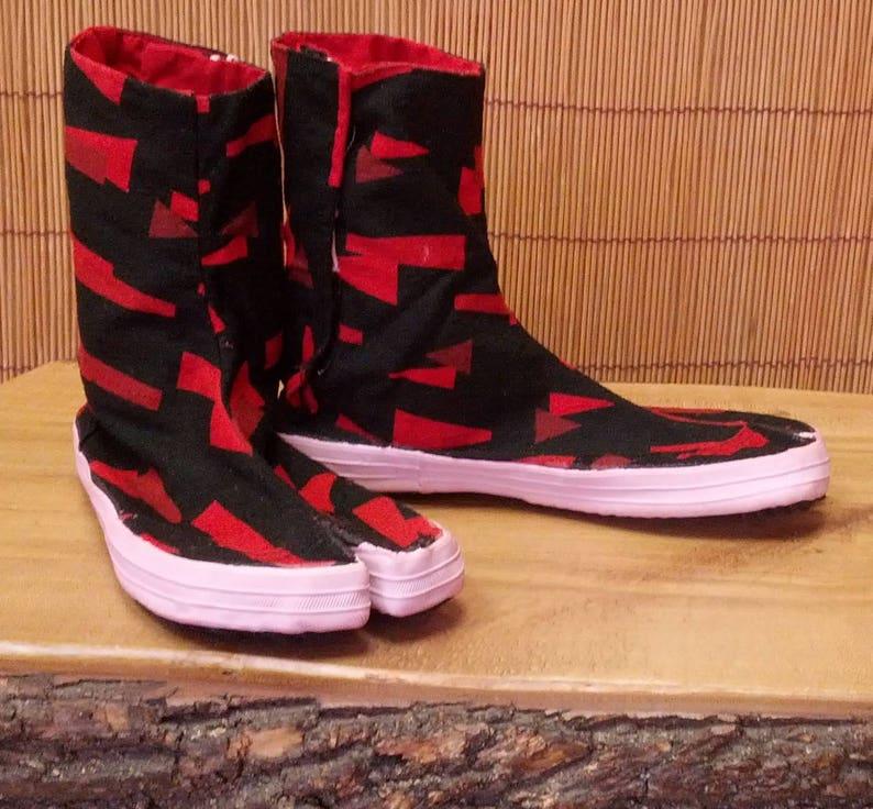 Fun Hand dyed Shatter Pattern Camo Tabi Boots with Tabi Socks