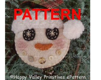 Primitive Snowman PATTERN  PDF Ornament Tutorial Instant Digital Download I.C. Flakes by Happy Valley Primitives