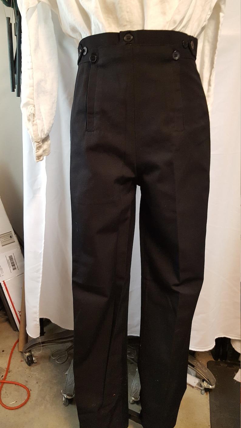 e89e1e6053d Regency Fall Front Black Wool Pants