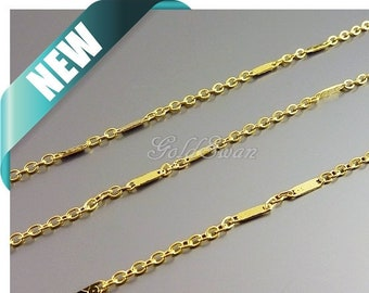 1 meter small 4mm double bar station chain, bar necklace chain, station necklace B166-BG