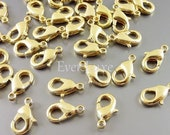 15 SALE 10 Large 12mm gold plated brass lobster claw clasps for jewelry, keychain clasp, necklace clasp, bracelet clasp B002-BG-LG