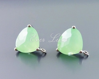 15/% SALE 2 prasiolite green color square glass connectors jewelry supplies 5055G-PR glass beads stones