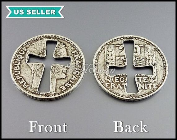 2 Große Kreuz Ausgeschnitten Gefälschte Alte Münze Anhänger Medaillonanhänger Alte Französische Münze In Altsilber Art Deco An099 S