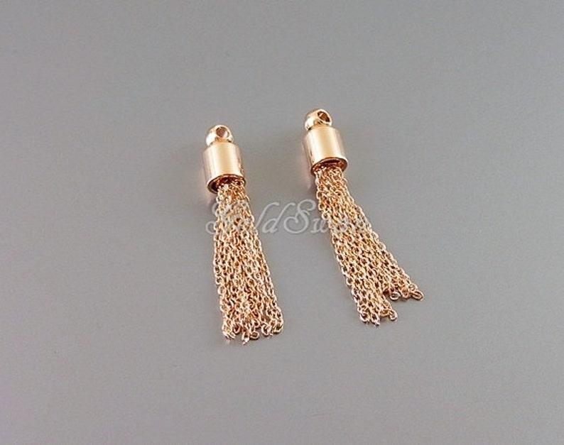 small brass metal chain tassels 20/% SALE 4 rose gold tiny chain tassel charms rose gold jewelry tassel pendants 2076-BRG