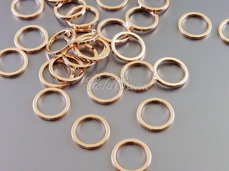geometric circles ring 15/% SALE 8 shiny rose gold brass 10mm circles charms open circle 997-BRG-10