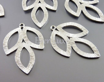 2 leaf necklace pendant in matte silver | nature inspired jewelry making supplies 1162-MR