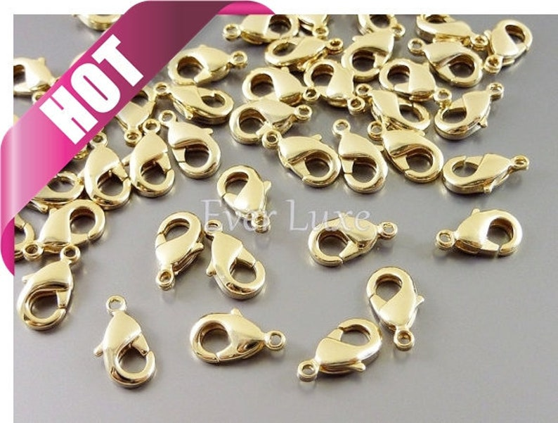 10 pcs Best selling item / Small 16k gold lobster claw brass image 0