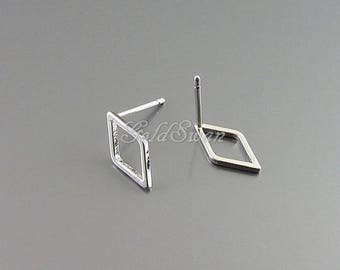 4 pcs / 2 pairs small 12mm diamond shaped stud earrings, geometric diamond earrings 1067-BR-12