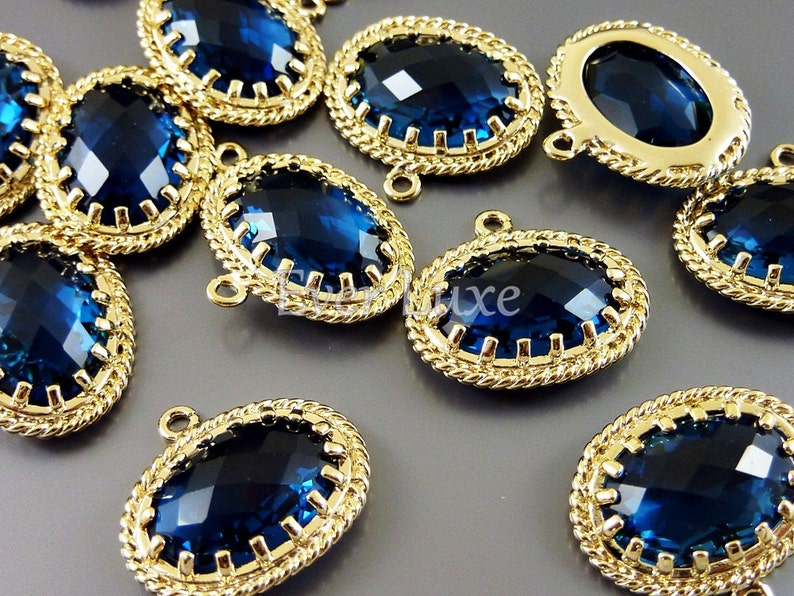 oval glass pendants 20/% SALE 2 Victorian style blue sapphire glass stone charms unique findings 5094G-BS
