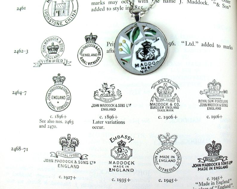 Vintage China Mosaic Necklace Maddock Bone China England Lion Backstamp 1935 upcycled handmade