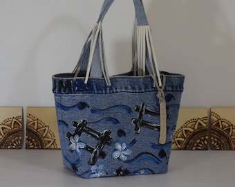 HAND PAINTED Denim Tote - Flowers - Leather FRINGE