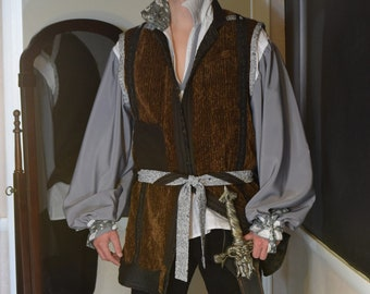 MENS Costume - PIRATE - Prince - STEAMPUNK - Reversible Vest and Shirt