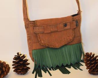 Leather -DENIM - Purse - Green