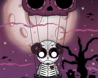 Dia de los Muertos 8x10 digital art print by Kristie Silva skull flying unluckable