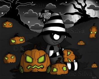 Strange Pumpkin Maker 8x10 digital art print by Kristie Silva unluckable pumpkins Halloween