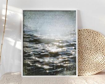 Grey Dawn Breaking | Coastal decor art print | Mixed Media Poster | Beach Art print | Paper Print