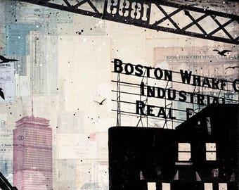 Cloud Cover No. 1 | Boston Art Print | Abstract Boston Skyline | Mixed Media Boston Art |