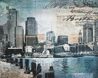 Harborwalk No. 17 - paper print of Boston skyline mixed media collage