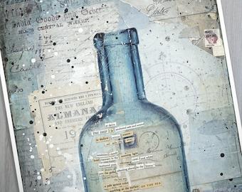The Ship At Dawn - Message in a Bottle | Sailing art print | Mixed Media Poster | New England Art | Beach Art | Paper Print