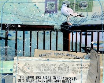 Summer paper print | Mixed Media Wall Art | Ocean Beach Word Art | Hand-Lettered Typography
