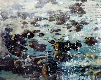 Rocky Tide | Coastal decor mixed media art print
